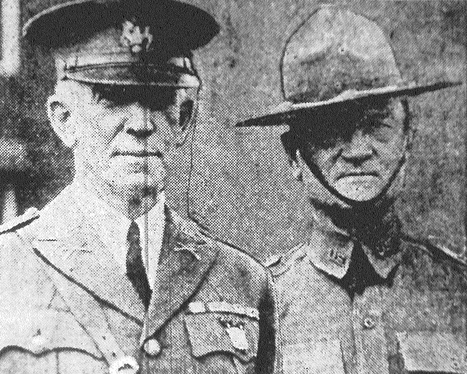Maj. Gen. Robert H. Allen, left, chief of infantry, is in San Antonio making an inspection of infantry units stationed at Fort Sam Houston. He believes the infantry is the main fighting force of the Army, with Air Corps, Cavalry, Artillery and other branches merely auxiliary. With Gen. Allen is show Brig. Gen. Harold B. Fiske, commander of the Third Infantry Brigade, and his host during the two-day stay here. Published in the San Antonio News June 12, 1928. Photo: File Photo