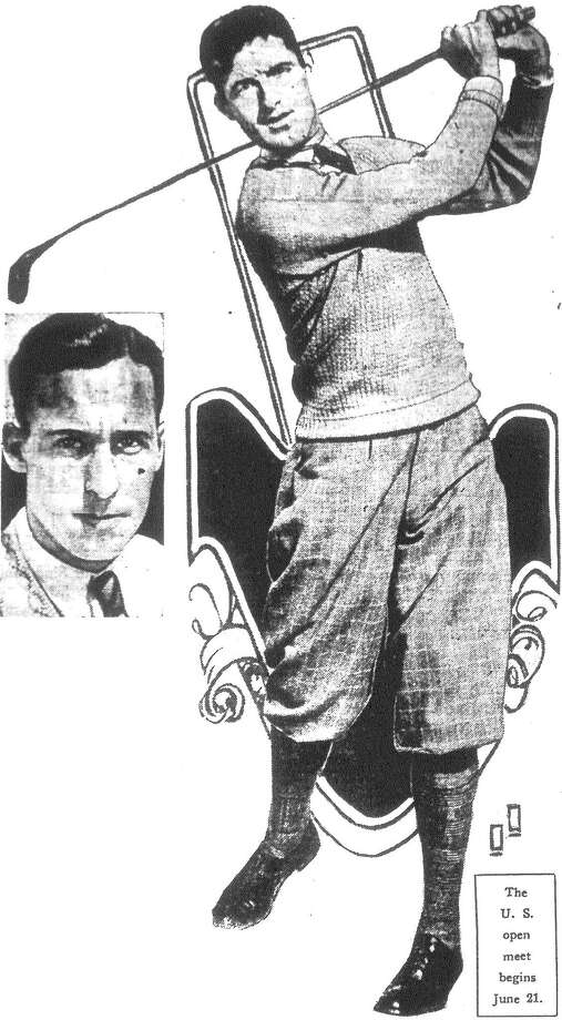 On to Olympia Fields! That's the motto Tom Lally (swinging) and Archie Loeffler, San Antonio golf professionals, have adopted as they prepare at Dallas for the Monday qualifying tests for the national open at Olympia Fields, Chicago. Published in the San Antonio Light June 9, 1928. Photo: File Photo