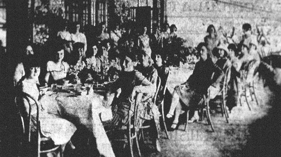 Miss Margaret Chalkley is shown here with an interesting group of young friends gathered about the luncheon table at the Alamo Country Club when she entertained there recently. She is the daughter of Mr. and Mrs. James W. Chalkley and was one of the much-feted graduates of the Incarnate Word High School this season. Published in the San Antonio News June 23, 1928. Photo: File Photo
