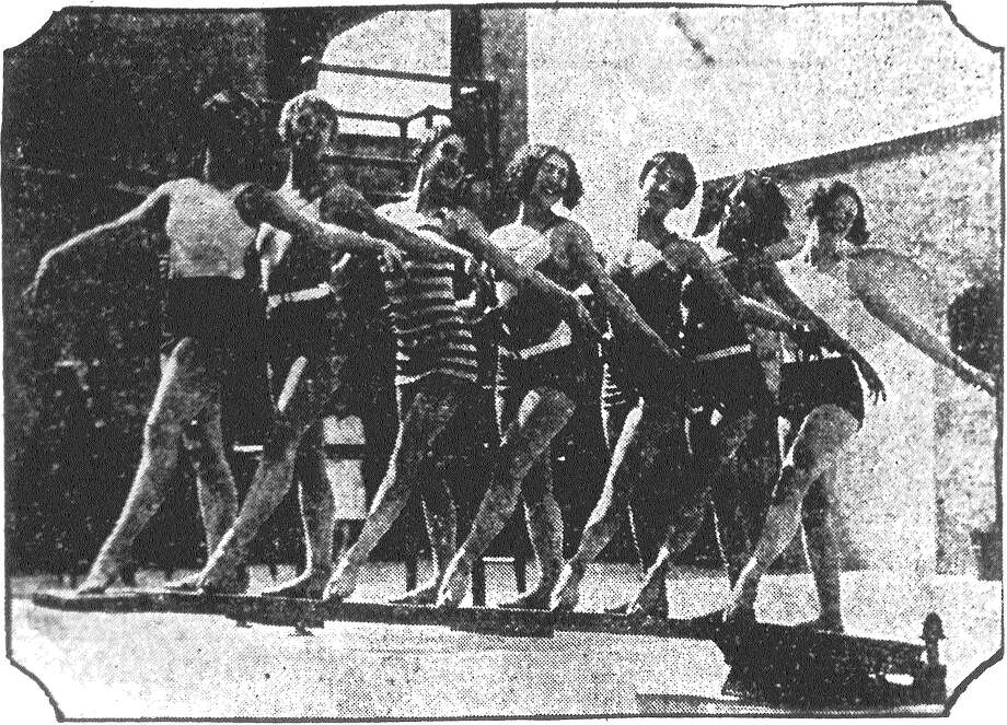 A bevy of beauties showing the very latest for this summer's beach wear. Stripes and vivid colors feature these modernistic swimming suits. Published in the San Antonio News June 19, 1928. Photo: File Photo