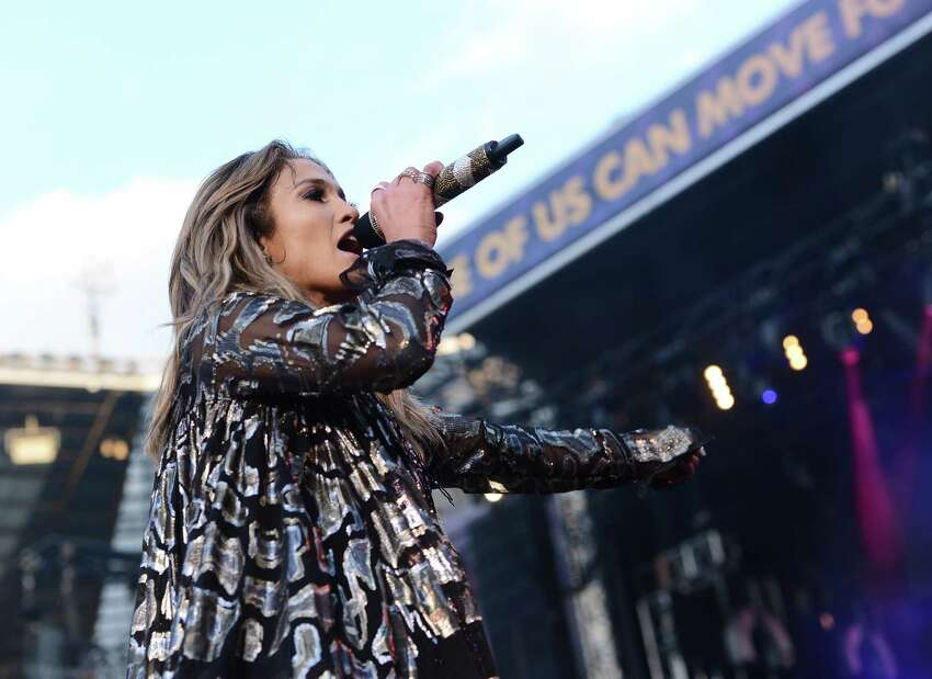 Singer Jennifer Lopez performs on stage at the
