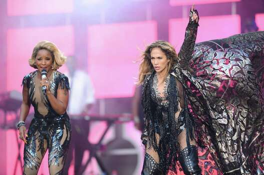 "LONDON, ENGLAND - JUNE 01:  (L-R)  Mary J Blige and Jennifer Lopez perform on stage at the ""Chime For Change: The Sound Of Change Live"" Concert at Twickenham Stadium on June 1, 2013 in London, England. Chime For Change is a global campaign for girls' and women's empowerment founded by Gucci with a founding committee comprised of Gucci Creative Director Frida Giannini, Salma Hayek Pinault and Beyonce Knowles-Carter. Photo: Ian Gavan, Getty Images For Gucci / 2013 Getty Images"