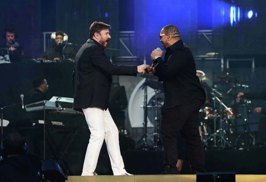"Simon Le Bon (L) and Timbaland perform on stage at the ""Chime For Change: The Sound Of Change Live"" Concert at Twickenham Stadium on June 1, 2013 in London, England. Chime For Change is a global campaign for girls' and women's empowerment founded by Gucci with a founding committee comprised of Gucci Creative Director Frida Giannini, Salma Hayek Pinault and Beyonce Knowles-Carter. Photo: Ian Gavan, Getty Images For Gucci / 2013 Getty Images"