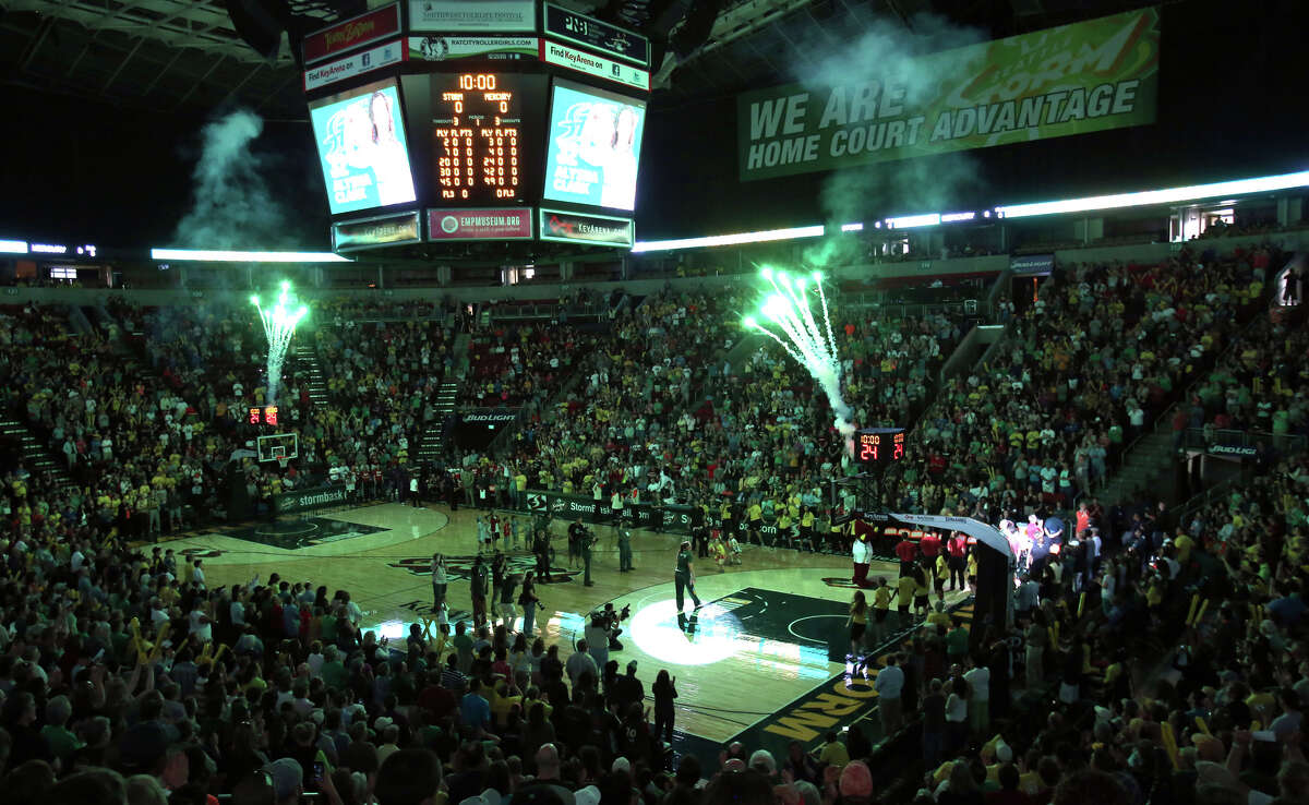 Seattle Storm players are introduced against the Phoenix Mercury during the Seattle Storm home opener on Sunday, June 2, 2013 at KeyArena in Seattle.