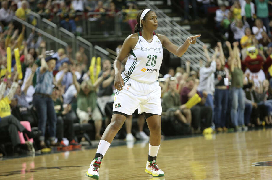 Seattle Storm player Camille Little reacts after a three pointer against the Phoenix Mercury during the Seattle Storm home opener on Sunday, June 2, 2013 at KeyArena in Seattle. Photo: JOSHUA TRUJILLO, SEATTLEPI.COM / SEATTLEPI.COM