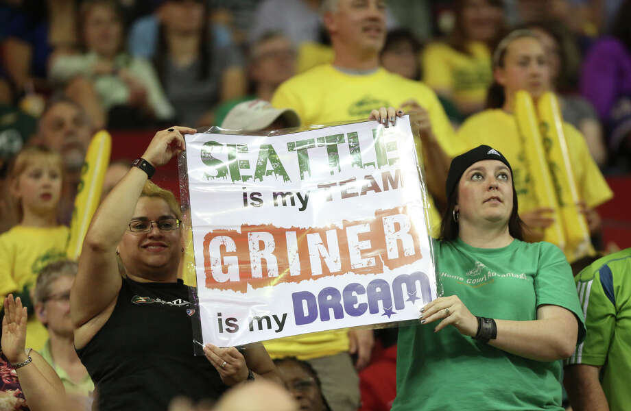 Fans hold up a sign during the Seattle Storm home opener on Sunday, June 2, 2013 at KeyArena in Seattle. Photo: JOSHUA TRUJILLO, SEATTLEPI.COM / SEATTLEPI.COM