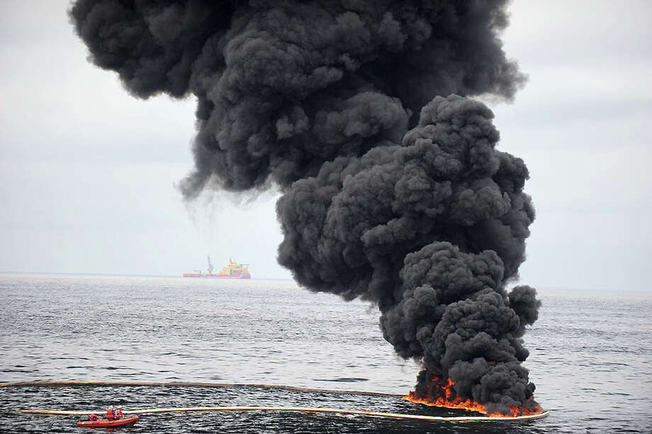 A recent report by the National Wildlife Federation found that the 3-year-old BP spill is still having a serious negative effect on the ecology of the Gulf of Mexico and its wildlife populations. Pictured: Smoke billows over a controlled oil fire off the coast of Venice, La., on May 5, 2010. Photo courtesy of Petty Officer 2nd Class Justin E. Stumberg, Department of Defense Photo: Contributed Photo
