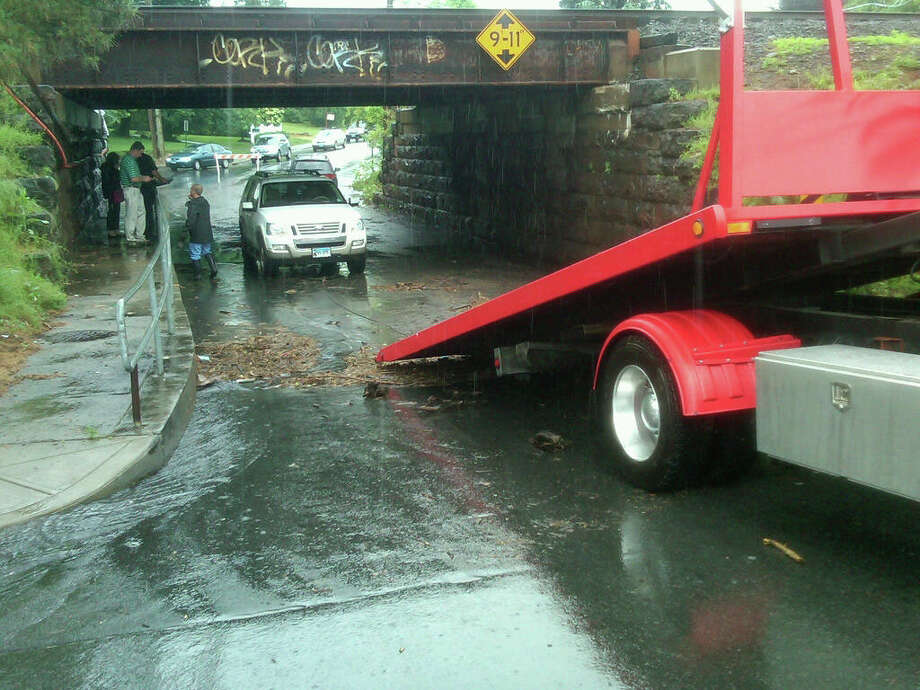 Flooding has closed local streets in the Bridgeport area, June 3. Photo: Contributed