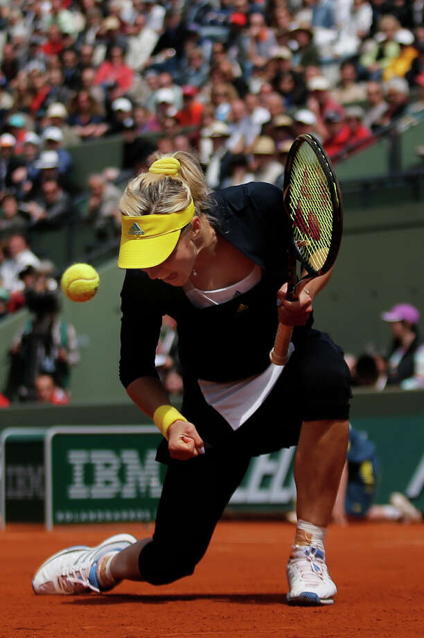 Russia's Maria Kirilenko reacts after a winning point as she plays USA's Bethanie Mattek-Sands during their fourth round match of the French Open tennis tournament at the Roland Garros stadium Monday, June 3, 2013 in Paris. Photo: Christophe Ena, AP / AP
