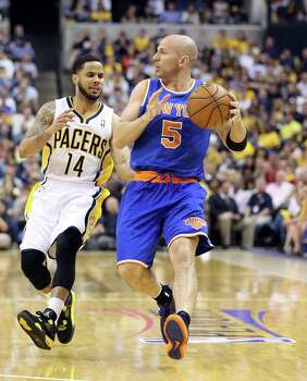 INDIANAPOLIS, IN - MAY 14:  Jason Kidd #5 of the New York Knicks dribbles the ball against the Indiana Pacers during Game Four of the Eastern Conference Semifinals of the 2013 NBA Playoffs at Bankers Life Fieldhouse on May 14, 2013 in Indianapolis, Indiana. NOTE TO USER: User expressly acknowledges and agrees that, by downloading and or using this photograph, User is consenting to the terms and conditions of the Getty Images License Agreement. Photo: Andy Lyons, Getty Images / 2013 Getty Images