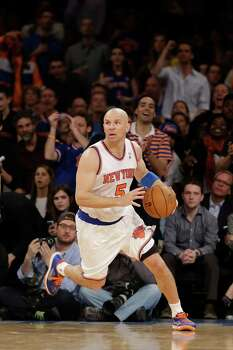 New York Knicks guard Jason Kidd (5) drives down court in the second half of Game 1 of the NBA basketball playoffs in New York, Saturday, April 20, 2013.  (AP Photo/Kathy Willens) Photo: Kathy Willens, Associated Press / AP
