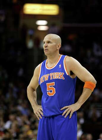 New York Knicks' Jason Kidd waits during a time-out during an NBA basketball game against the Cleveland Cavaliers Monday, March 4, 2013, in Cleveland.  (AP Photo/Tony Dejak) Photo: Tony Dejak, Associated Press / AP