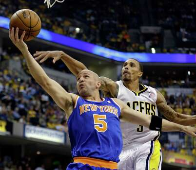 New York Knicks' Jason Kidd (5) shoots past Indiana Pacers' George Hill during the first half of Game 4 of an Eastern Conference semifinal NBA basketball playoff series on Tuesday, May 14, 2013, in Indianapolis. (AP Photo/Darron Cummings) Photo: Darron Cummings, Associated Press / AP