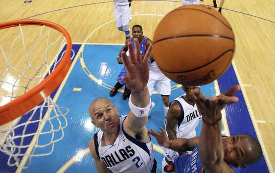 Russell Westbrook #0 of the Oklahoma City Thunder takes a shot against Jason Kidd #2 of the Dallas Mavericks during Game Four of the Western Conference Quarterfinals in the 2012 NBA Playoffs at American Airlines Center on May 5, 2012 in Dallas, Texas. Photo: Ronald Martinez, Getty Images / 2012 Getty Images