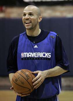 Dallas Mavericks' Jason Kidd laughs during team practice in Dallas, Tuesday, Feb. 19, 2008. Photo: LM Otero, AP / AP