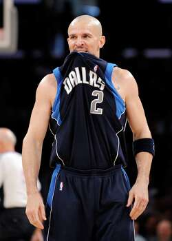 Dallas Mavericks Jason Kidd bites his jersey during the first half of their NBA basketball game against the Los Angeles Lakers, Sunday, March. 2, 2008, in Los Angeles. The Lakers won, 108-104, in overtime. Photo: Mark J. Terrill, AP / AP