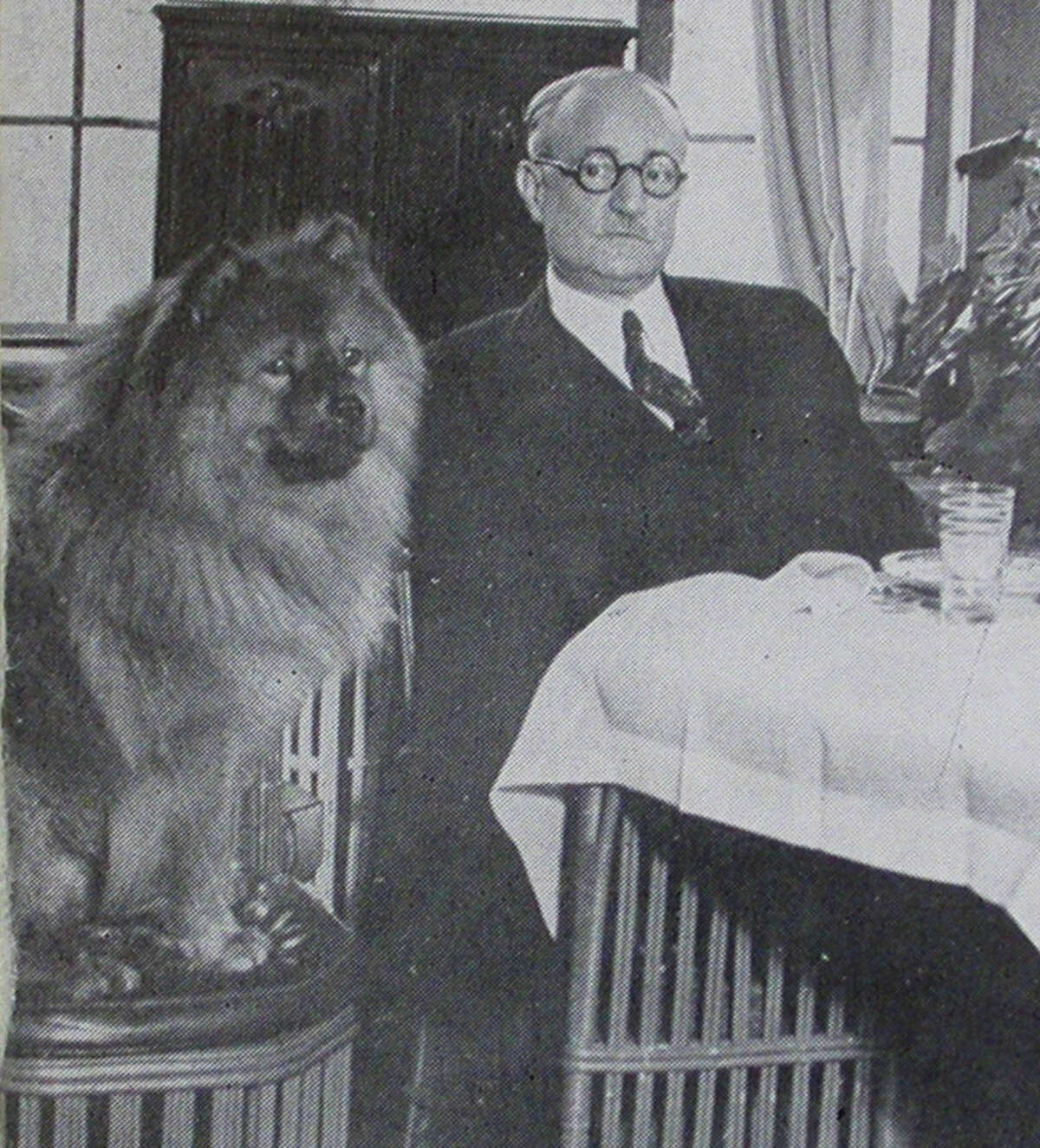 Fairfield's great imposter, seen in an elegant dining room with a four-legged accomplice, was approached by Republicans in 1937 about making a run for president. A year later, his elaborate con collapsed.