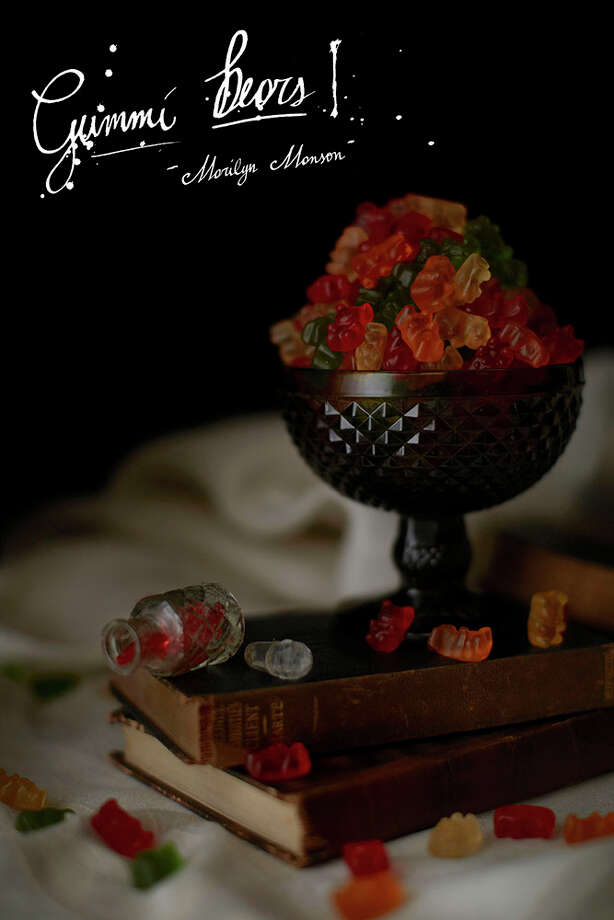 "Marilyn Manson's rider specified Gummi bears; from the ""Band Riders"" series by Henry Hargreaves and Caitlin Levin. Photo: Henry@henryhargreaves.com, Photography, Henry Hargreaves; Styling Caitlin Levin;  Typography, Lorenzo Fanton"
