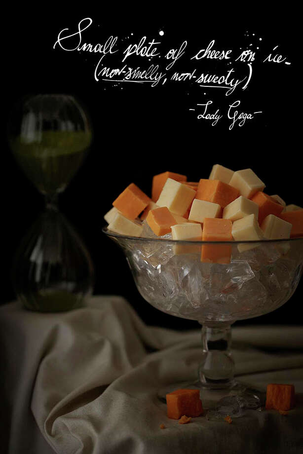 "Lady Gaga's rider specified ""non-smelly"" cheese on ice; from the ""Band Riders"" series by Henry Hargreaves and Caitlin Levin. Photo: Photography,  Henry Hargreaves; Styling Caitlin Levin;  Typography,  Lorenzo Fanton"