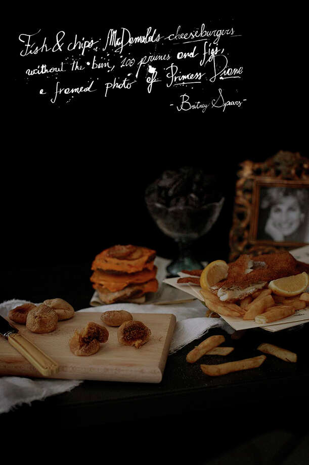 "Brittany Spears' rider specified fish and chips, McDonald's cheeseburgers (without the bun), 100 prunes and figs and a framed photo of Princess Diana; from the ""Band Riders"" series by Henry Hargreaves and Caitlin Levin. Photo: Photography,  Henry Hargreaves; Styling Caitlin Levin;  Typography,  Lorenzo Fanton"