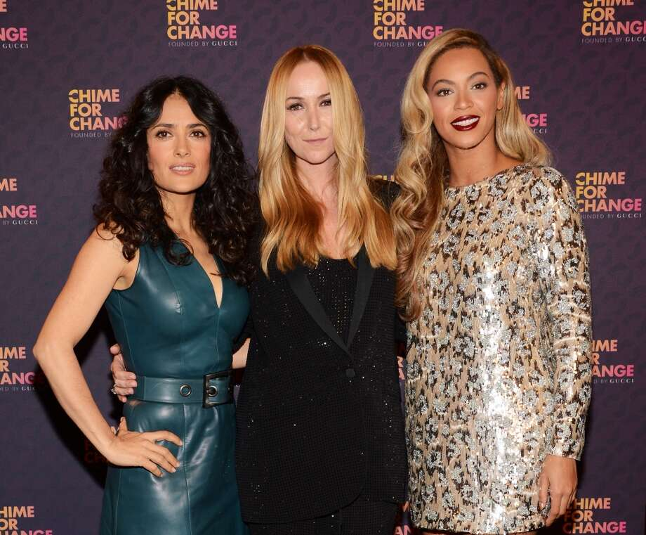 "Co-founders Salma Hayek Pinault, Creative Director of Gucci Frida Giannini and singer Beyonce backstage, behind the scenes at the ""Chime For Change: The Sound Of Change Live"" Concert at Twickenham Stadium on June 1, 2013 in London, England. Chime For Change is a global campaign for girls' and women's empowerment founded by Gucci with a founding committee comprised of Gucci Creative Director Frida Giannini, Salma Hayek Pinault and Beyonce Knowles-Carter.  (Photo by Larry Busacca/Chime For Change/Getty Images for Gucci)"