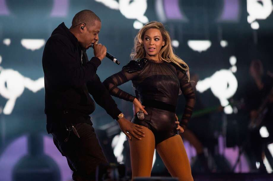 "JAY-Z joins Beyonce on stage for 'Crazy In Love' at the ""Chime For Change: The Sound Of Change Live"" Concert at Twickenham Stadium on June 1, 2013 in London, England. Chime For Change is a global campaign for girls' and women's empowerment founded by Gucci with a founding committee comprised of Gucci Creative Director Frida Giannini, Salma Hayek Pinault and Beyonce Knowles-Carter.  (Photo by Yosra El-Essawy/Chime For Change/Getty Images for Gucci)"