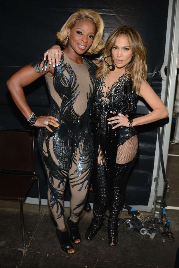 "Singers Mary J Blige and Jennifer Lopez backstage, behind the scenes at the ""Chime For Change: The Sound Of Change Live"" Concert at Twickenham Stadium on June 1, 2013 in London, England. Chime For Change is a global campaign for girls' and women's empowerment founded by Gucci with a founding committee comprised of Gucci Creative Director Frida Giannini, Salma Hayek Pinault and Beyonce Knowles-Carter.  (Photo by Larry Busacca/Chime For Change/Getty Images for Gucci)"