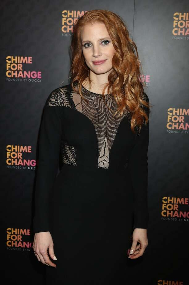 "LONDON, ENGLAND - JUNE 01:  Jessica Chastain arrives at the Royal Box photo wall ahead of the ""Chime For Change: The Sound Of Change Live"" Concert at Twickenham Stadium on June 1, 2013 in London, England. Chime For Change is a global campaign for girls' and women's empowerment founded by Gucci with a founding committee comprised of Gucci Creative Director Frida Giannini, Salma Hayek Pinault and Beyonce Knowles-Carter.  (Photo by Daniele Venturelli/Getty Images for Gucci)"