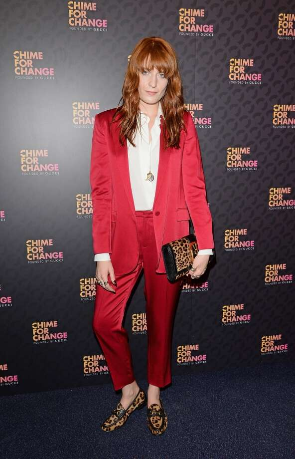 "LONDON, ENGLAND - JUNE 01:  Florence Welch arrives for the after show party following the ""Chime For Change: The Sound Of Change Live"" Concert at Twickenham Stadium on June 1, 2013 in London, England. Chime For Change is a global campaign for girls' and women's empowerment founded by Gucci with a founding committee comprised of Gucci Creative Director Frida Giannini, Salma Hayek Pinault and Beyonce Knowles-Carter.  (Photo by Daniele Venturelli/Getty Images for Gucci)"