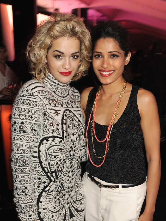 "Rita Ora (L) and Freida Pinto attend the after show party following the ""Chime For Change: The Sound Of Change Live"" Concert at Twickenham Stadium on June 1, 2013 in London, England. Chime For Change is a global campaign for girls' and women's empowerment founded by Gucci with a founding committee comprised of Gucci Creative Director Frida Giannini, Salma Hayek Pinault and Beyonce Knowles-Carter.  (Photo by Dave Benett/Chime For Change/Getty Images for Gucci)"