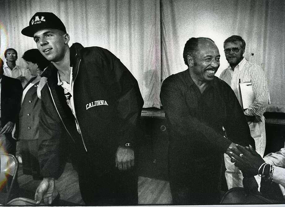 Jason Kidd, left, and his father Steve Kidd, are congratulated after the press conference during which Jason announced that he would attend Cal on September 9, 1981 at St. Joseph's High School in Alameda, Calif. Photo: Scott Sommerdorf, The Chronicle