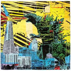 """Godzilla Print"" by Eric Rewitzer of San Francisco's 3 Fish Studios. His work, along with that of his wife Annie Galvin, co-owner of 3 Fish Studios, reflects a playful nostalgic approach to things that bring meaning to their life."