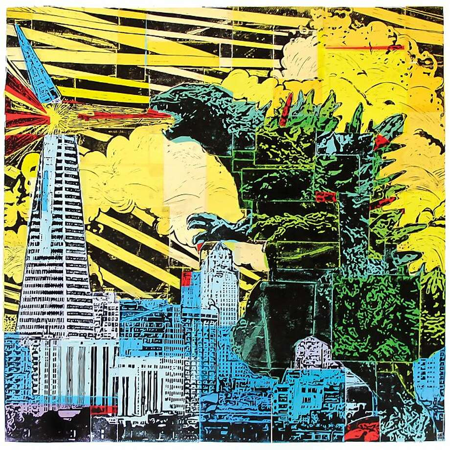 """Godzilla Print"" by Eric Rewitzer of San Francisco's 3 Fish Studios. His work, along with that of his wife Annie Galvin, co-owner of 3 Fish Studios, reflects a playful nostalgic approach to things that bring meaning to their life. Photo: 3 Fish Studios"