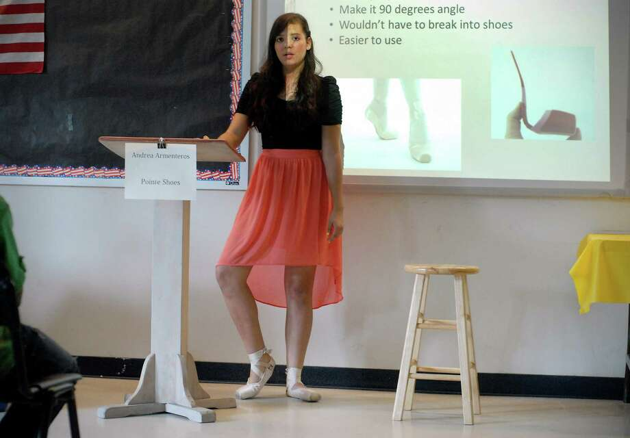 Scofield Magnet Middle School 8th grader Andrea Armenteros presents her year end project on ballet pointe shoes to 7th graders on Monday June 3, 2013 in Stamford, Conn. Photo: Dru Nadler / Stamford Advocate Freelance