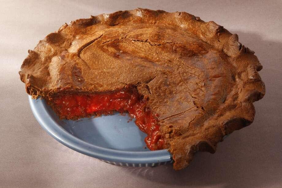 Pietisserie's strawberry rhubarb pie with chocolate crust.