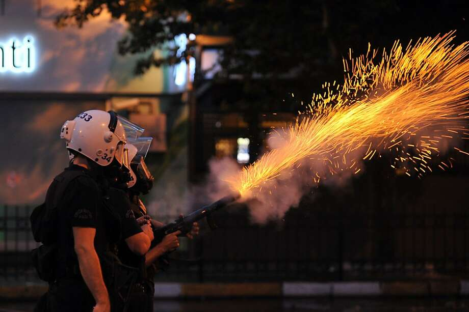 Biggest anti-government demonstrations in a decade: Police fire tear gas canisters to disperse protesters outside Turkish Prime Minister 