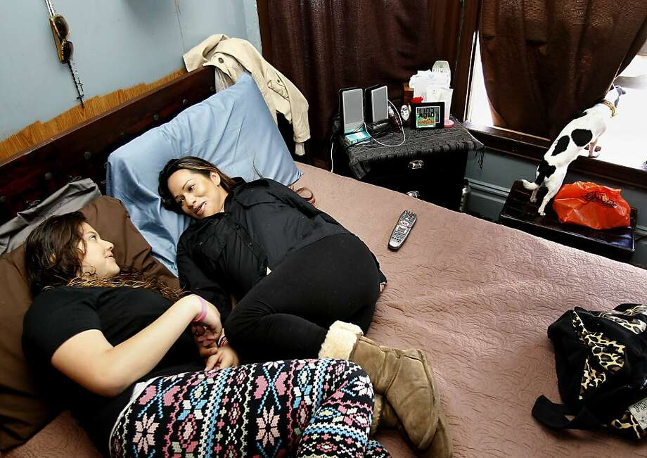 Fabiola Vega (right) and daughter Leilani Suarez have been on the public housing waiting list for five years. Photo: Brant Ward, The Chronicle