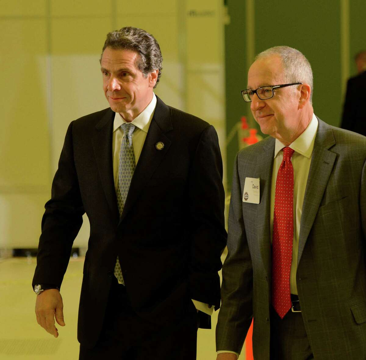 Governor Andrew Cuomo, left, is joined by Cornell president David Skorton as he continues his speaking engagements for his Tax-Free intitiative June 3, 2013, at the College of Nanoscale Science and Engineering in Albany, N.Y. (Skip Dickstein/Times Union)