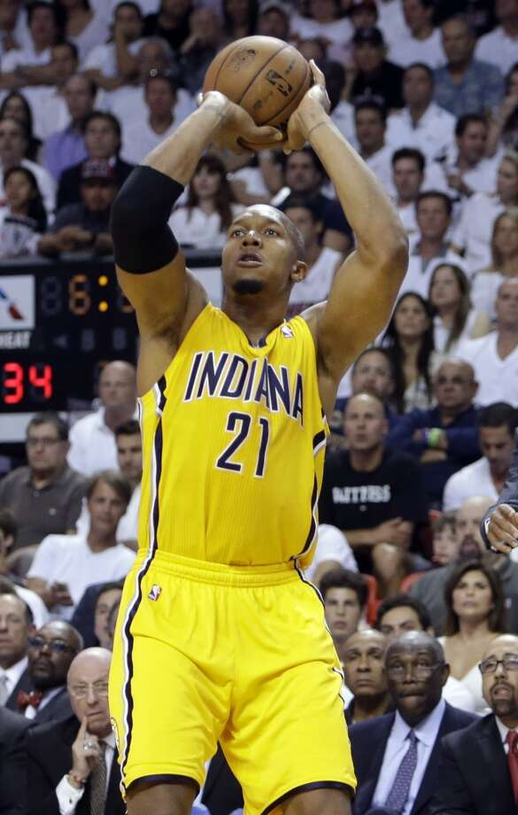 Indiana Pacers power forward David West (21) aims for the basket during the first half of Game 7 in their NBA basketball Eastern Conference finals playoff series against the Miami Heat, Monday, June 3, 2013 in Miami. (AP Photo/Lynne Sladky)