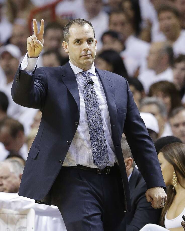 Indiana Pacers head coach Frank Vogel calls a play against the Miami Heat during the first half of Game 7 in their NBA basketball Eastern Conference finals playoff series, Monday, June 3, 2013 in Miami. (AP Photo/Lynne Sladky)