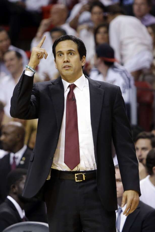 Miami Heat head coach Erik Spoelstra gestures during the first half of Game 7 in their NBA basketball Eastern Conference finals playoff series against the Indiana Pacers, Monday, June 3, 2013 in Miami. (AP Photo/Lynne Sladky)