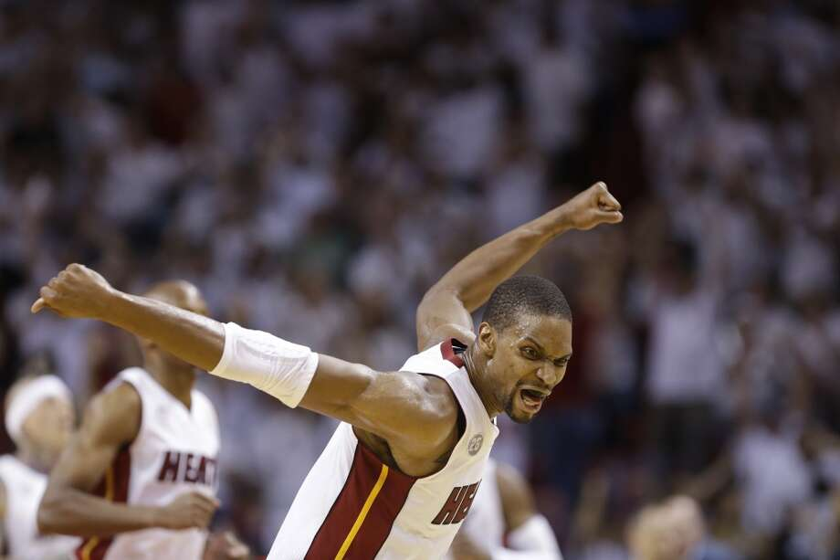 or this one Miami Heat center Chris Bosh (1)during the first half of Game 7 in their NBA basketball Eastern Conference finals playoff series, Monday, June 3, 2013 in Miami. (AP Photo/Lynne Sladky)