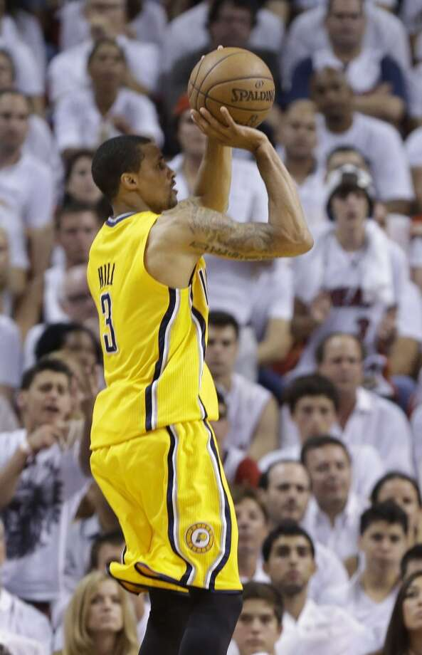 Indiana Pacers point guard George Hill (3) aims for the basket during the second half of Game 7 in their NBA basketball Eastern Conference finals playoff series against the Miami Heat, Monday, June 3, 2013 in Miami. (AP Photo/Lynne Sladky)