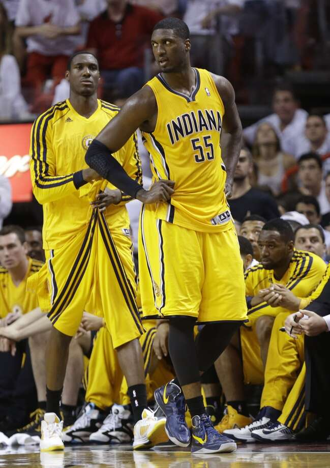 Indiana Pacers center Roy Hibbert (55) walks the court as the Pacers fall behind the Miami Heat during the first half of Game 7 in their NBA basketball Eastern Conference finals playoff series, Monday, June 3, 2013 in Miami. (AP Photo/Lynne Sladky)