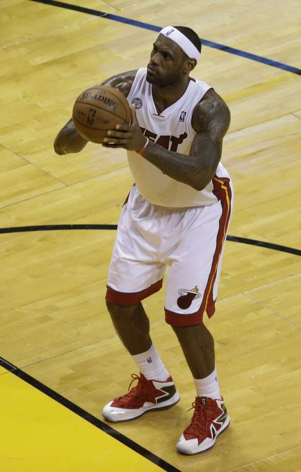 Miami Heat forward LeBron James (6) on the free throw line during the first half of Game 7 in their NBA basketball Eastern Conference finals playoff series against the Indiana Pacers, Monday, June 3, 2013 in Miami. (AP Photo/Wilfredo Lee)