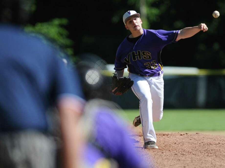 Voorheesville pitcher Nick Chiseri throws the ball during the Class C state regional baseball game against Norwood-Norfolk on Monday, June 3, 2013 in Amsterdam, N.Y.  (Lori Van Buren / Times Union) Photo: Lori Van Buren / 00022669A