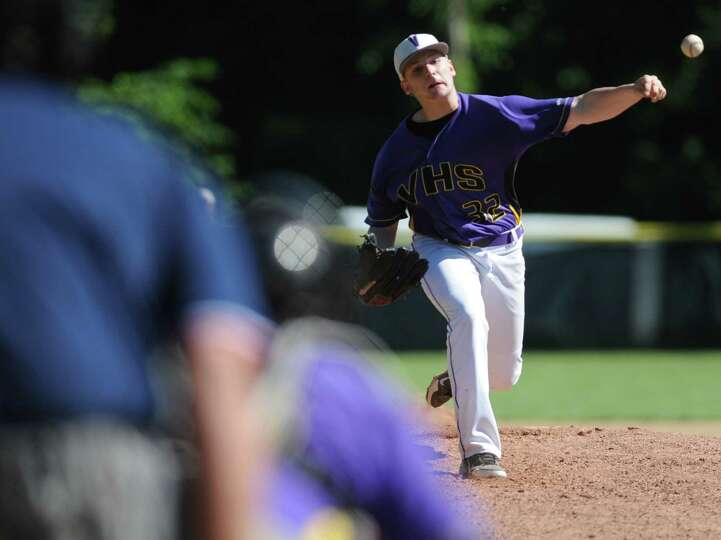 Voorheesville pitcher Nick Chiseri throws the ball during the Class C state regional baseball game a