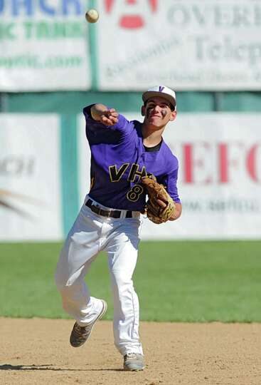 Voorheesville second baseman Tom Gallager throws the ball to first base during the Class C state reg