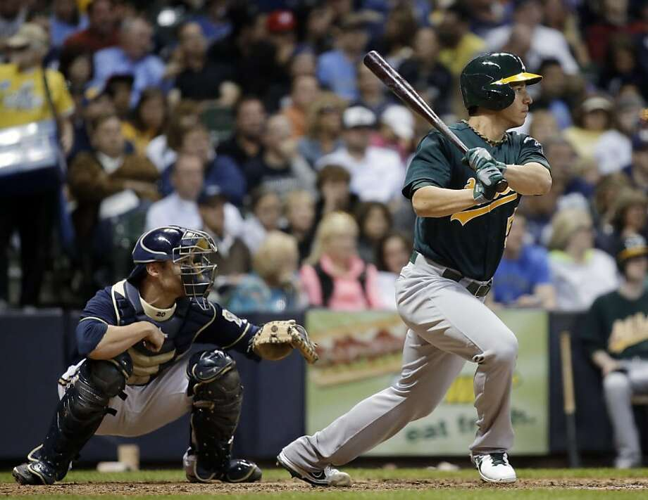 Tommy Milone went 2-for-4. Everyone in the A's lineup got at least one hit Monday. Photo: Morry Gash, Associated Press