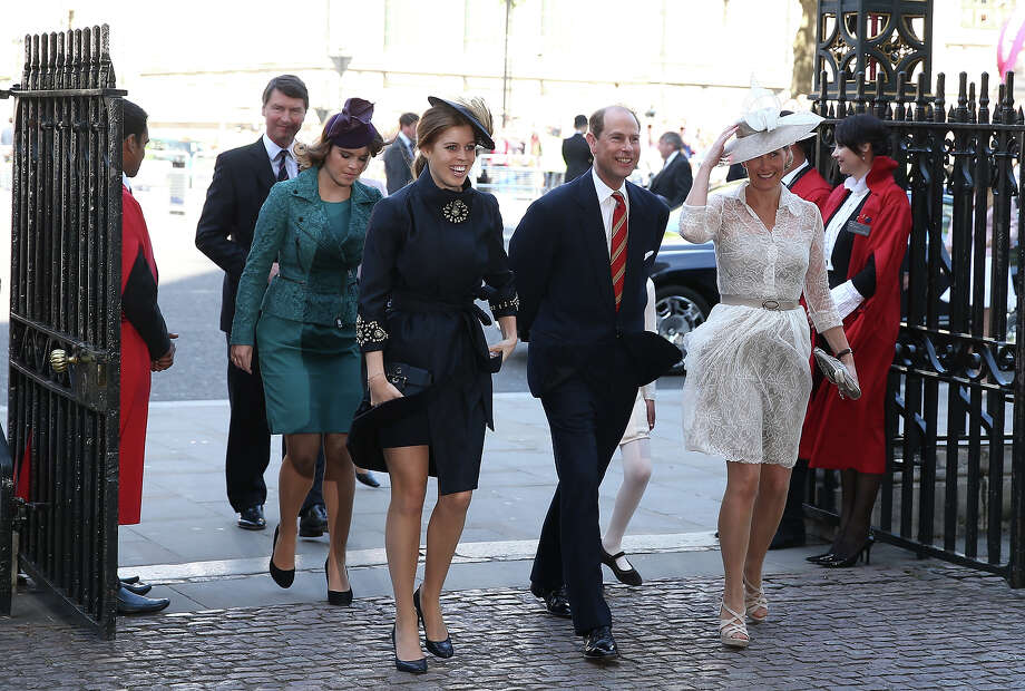 Prince Edward, Earl of Wessex (2nd-R) and his wife Sophie, Countess of Wessex (R), Princess Beatrice (C), Princess Eugenie (2nd-L) and Vice Admiral Sir Tim Laurence (L) arrive for a service of celebration to mark the 60th anniversary of the Coronation Queen Elizabeth II at Westminster Abbey on June 4, 2013 in London, England.  The Queen's Coronation took place on June 2, 1953 after a period of mourning for her father King George VI, following her ascension to the throne on February 6, 1952. The event 60 years ago was the first time a coronation was televised for the public. Photo: Dan Kitwood, Getty Images / 2013 Getty Images